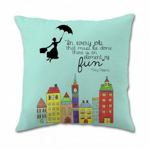 """Mary Poppins"" Cotton Linen Throw Pillow Covers 18"" x 18"""