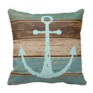 """Nautical Anchor"" Cotton Linen Throw Pillow Covers 18"" x 18"""