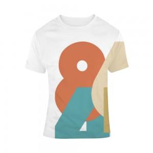 """Shapes"" Single-Sided Full Printing Man White T-shirt"