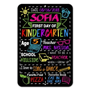 """""""First Day of School"""" Chalkboard Style Photo Prop Tin Sign"""