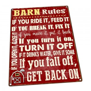 """Barn Rules"" Metal Sign"