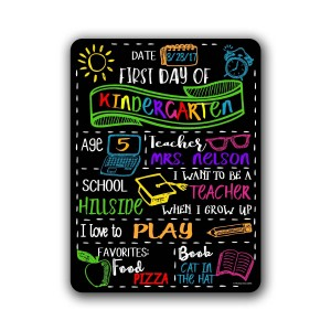 """""""First Day of School"""" Chalkboard Style Metal Sign"""