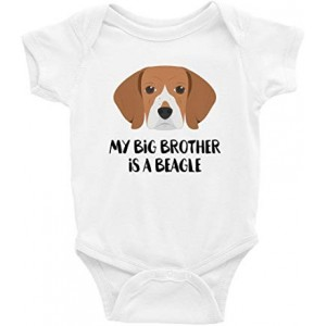 """BEAGLE"" Infant One-Piece Bodysuit Romper Best Gift for Baby, White, 0–3M"