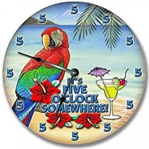 """Beach""""Parrot"" Wall Clock,Round"