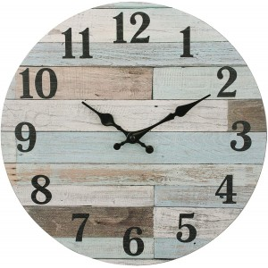 """Wood""""Blue"" Wall Clock,Round"