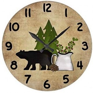 """""""Bear""""""""Tree""""""""Forest"""" Wall Clock,Round"""