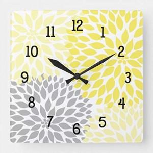 """""""Dahlia""""""""Flowers"""" Wall Clock,Square"""