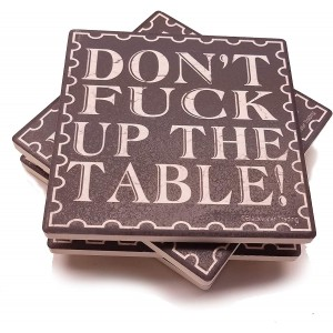 """Brown""""Table"" Ceramic Tile Coasters, Set of 4 ,4"""