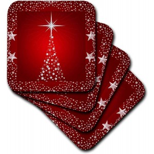 """Christmas""""Red"" Ceramic Tile Coasters, Set of 4 ,3.5"""