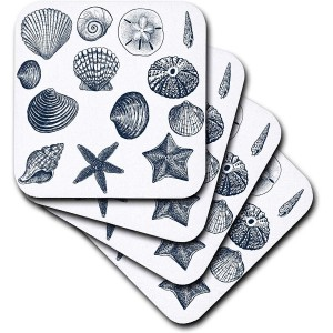 """Beach"" Ceramic Tile Coasters, Set of 4 ,4"""