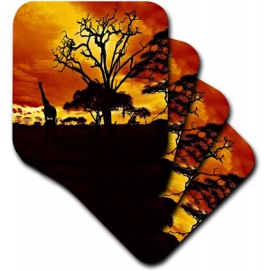 """Sunset"" Ceramic Tile Coasters, Set of 4"
