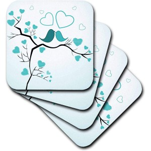"""Bird""""Blue"" Ceramic Tile Coasters, Set of 4"