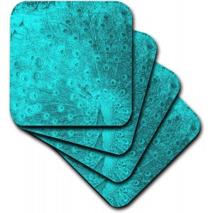 """Turquoise""""Peacock"" Ceramic Tile Coasters ,set-of-4-Ceramic,"