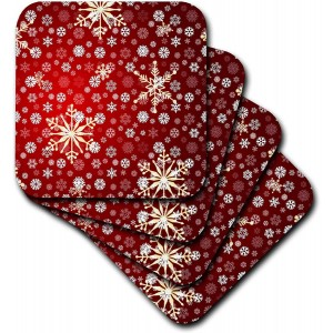"""Snow""""Red"" Ceramic Tile Coasters, Set of 4 ,3.5"""
