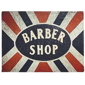 """Barber Shop"" Rubber Doormat, Rectangle, 23.6""x 15.7"""