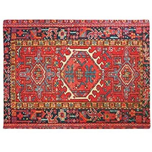 """Oriental Red"" Rubber Doormat, Rectangle, 23.6""x 15.7"""