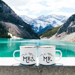 """Mrs & Mr"" Metal Enamel Cup , A set of two, 10oz"