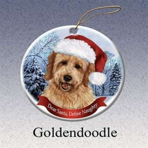 Holiday Pet Gifts Goldendoodle Santa Hat Dog Porcelain Christmas Tree Ornament