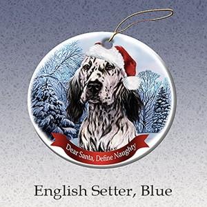 Holiday Pet Gifts English Setter Blue Santa Hat Dog Porcelain Christmas Tree Ornament