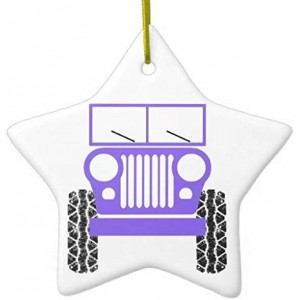 Jeep Front Silh II YUMM DoubleSided Star Ceramic Christmas Ornament
