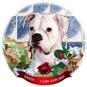 """White Boxer Dog"" Design Round Ornament Funny Home Decor Craft"