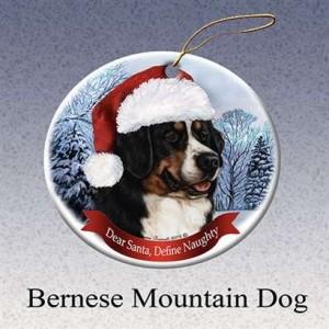 Holiday Pet Gifts Bernese Mountain Santa Hat Dog Porcelain Christmas Tree Ornament