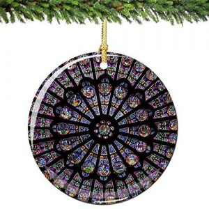 QMSING Rose Window Christmas Ornament from Notre Dame in Paris France in Porcelain
