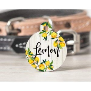 """Flower Pink ""Round DogTag Necklaces, Pet ID Tag"