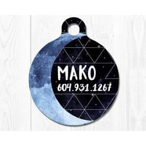 """Moon""Round DogTag Necklaces, Pet ID Tag"