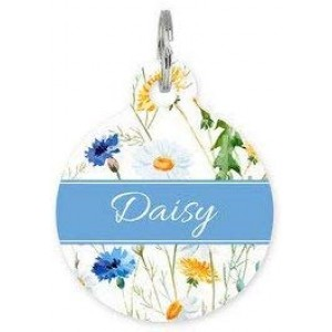 """Spring Bloom ""Round DogTag Necklaces, Pet ID Tag"
