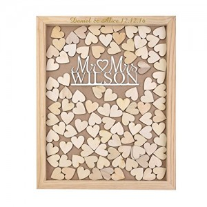 Personalized Engraved Wooden Wedding Guest Book Frame