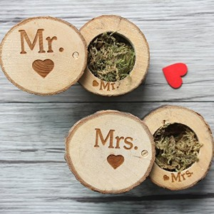 Wood Rustic Wedding Ring Boxes a Pair