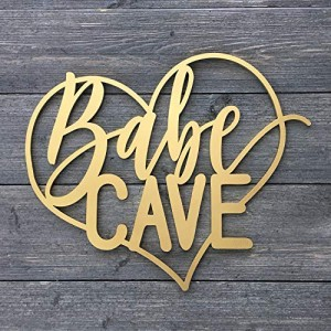 """Babe Cave"" Heart Wall Sign 14W x 11.5H"