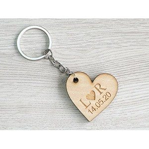 Heart Keychain with Name Custom Date Personalized Gifts for her Anniversary Gifts