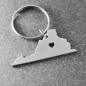 I Heart Virginia Keychain - Custom State Keyring - State Keychain in Handmade (Virginia)