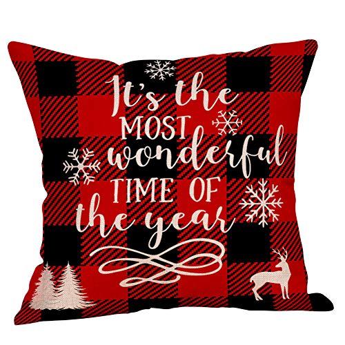 """Christmas"" 4 Pack Cotton Linen Pillowcase 18"" x 18"""