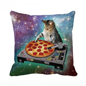 """Cat Pizza"" Throw Pillow Covers, Ultra-Soft Cotton Pillowcases, Breathable, Easy to Wash 18"" x 18"""