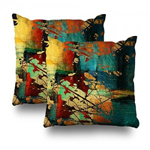 """Art Grunge"" Throw Pillow Covers 18"" x 18"""