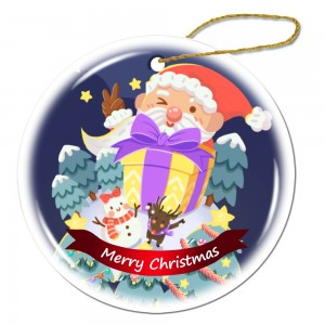 """Santa Claus gives gifts"" Snowflake Porcelain Ornament"