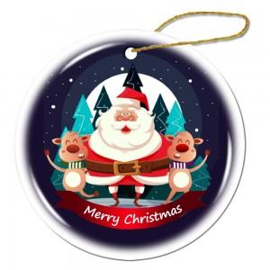"""""""Santa"""" """"2 deer"""" Snowflake Porcelain Ornament"""