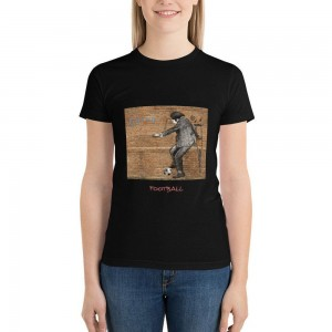"""""""play football"""" Double-sided Area Printing Black T-shirt for Women"""