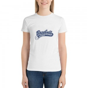 """""""Baseball Leacue"""" Double-sided Area Printing White T-shirt for Women"""