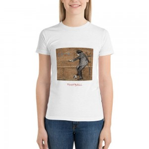 """""""play football"""" Double-sided Area Printing White T-shirt for Women"""