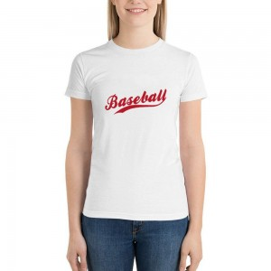 """""""baseball"""" Double-sided Area Printing White T-shirt for Women"""