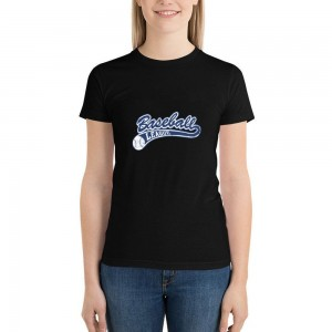 """""""Baseball Leacue"""" Double-sided Area Printing Black T-shirt for Women"""