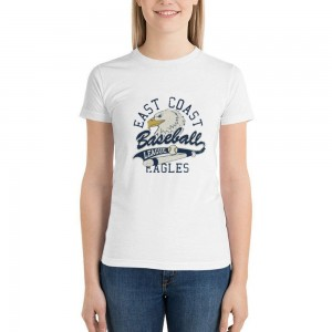 """""""EAST COAST EAGLES"""" Double-sided Area Printing White T-shirt for Women"""