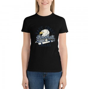 """""""EAST COAST EAGLES"""" Double-sided Area Printing Black T-shirt for Women"""