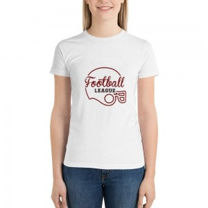 """""""footteall"""" Double-sided Area Printing White T-shirt for Women"""