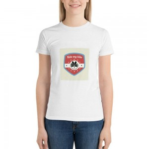 """""""Ride my bike"""" Double-sided Area Printing White T-shirt for Women"""