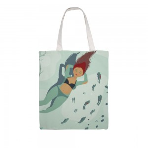 """""""Lying in the river"""" Double-sided printing Great Martin Canvas Tote Bag"""